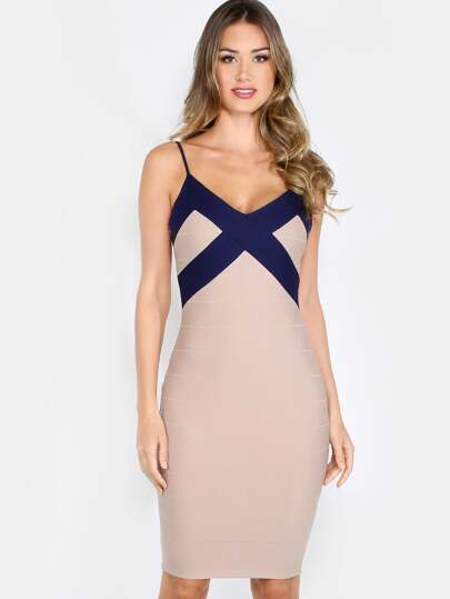 Duo Tone Bandage Dress MOCHA