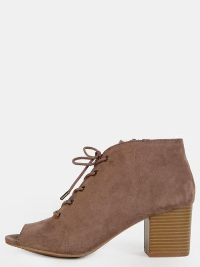 Low Cut Peep Toe Ankle Booties TAUPE