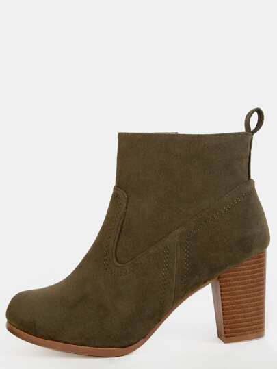 Faux Suede Stacked Heel Booties OLIVE