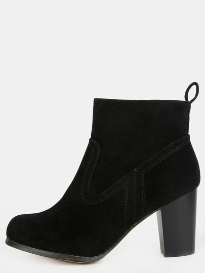 Almond Toe Stacked Heel Ankle Boots BLACK