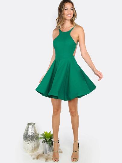 Open Back Flare Dress KELLY GREEN