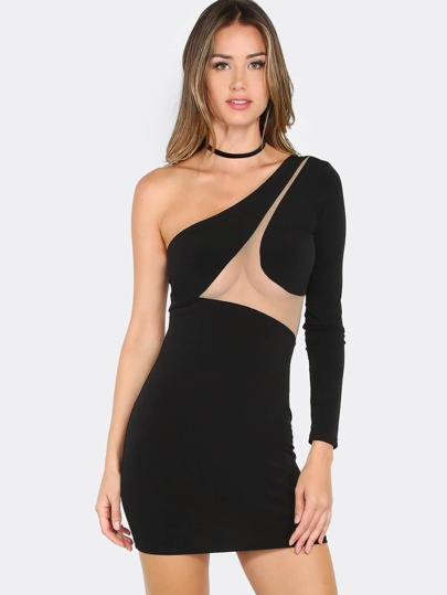 Long Sleeve Mesh Mini Dress BLACK
