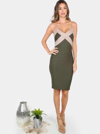 V Neck Bandage Dress OLIVE