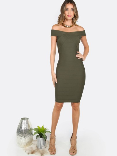 Bardot Bandage Midi Dress OLIVE