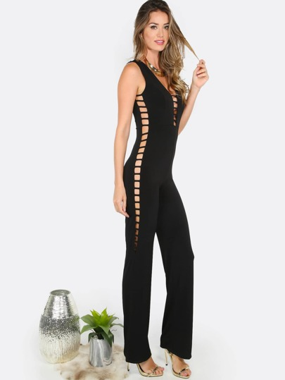 Straight Leg Cut Out Jumpsuit BLACK