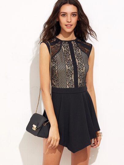Black Cutout Back Asymmetrical Hem Lace Dress