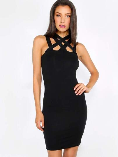 Black Cutout Sleeveless Bodycon Dress