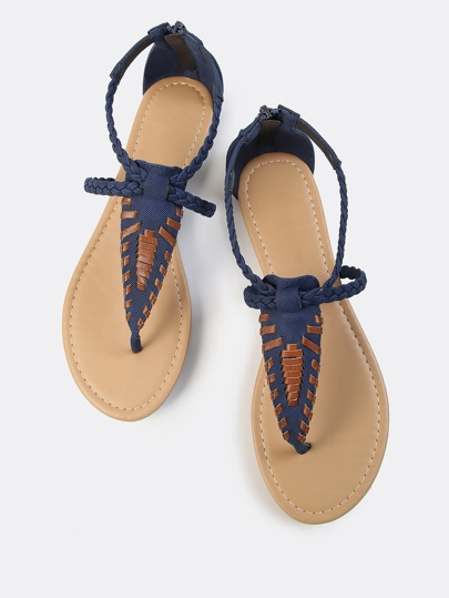 Braided Leather Thong Sandal NAVY