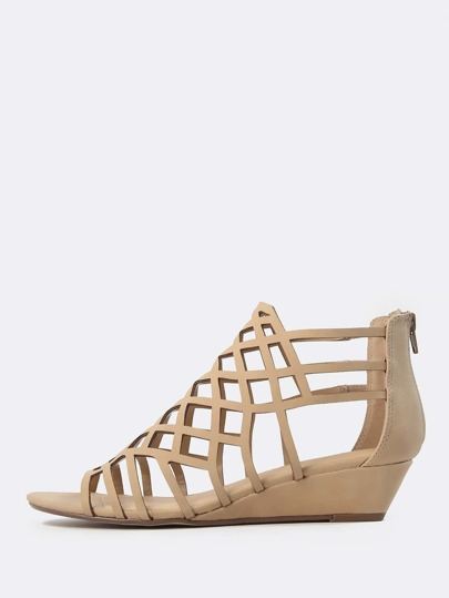 Caged Faux Leather Wedge Sandal TAUPE