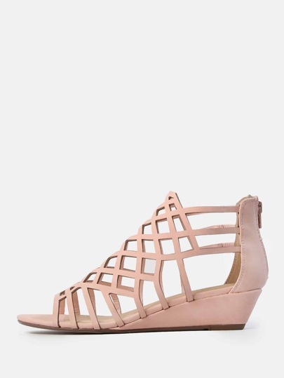 Faux Leather Caged Wedge Sandal PINK