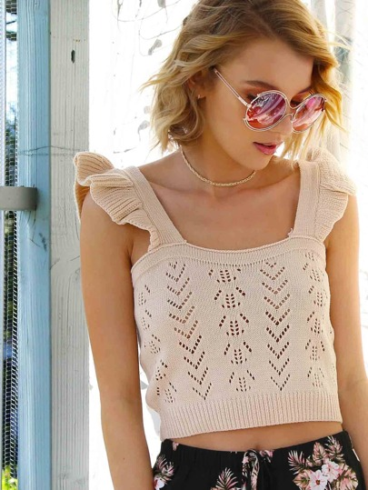 Crochet Knit Crop Top TAUPE
