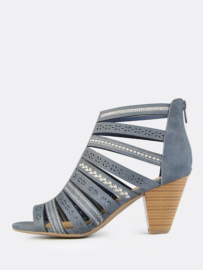 Embroidered Caged Chunky Denim Heel DENIM