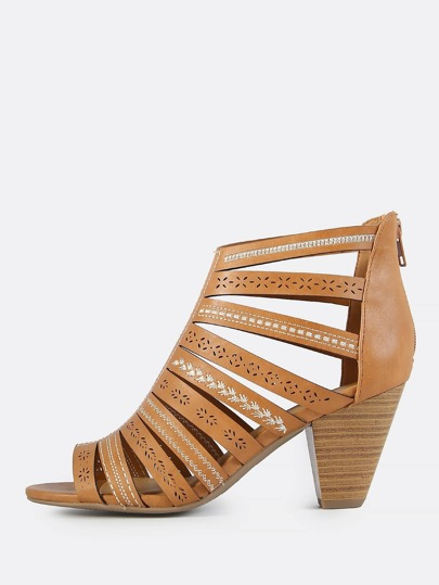 Embroidered Caged Chunky Heel NATURAL
