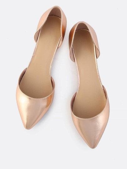 Metallic Point Toe Flats ROSE GOLD