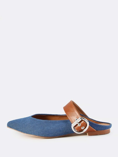 Backless Point Toe Denim Flats DENIM