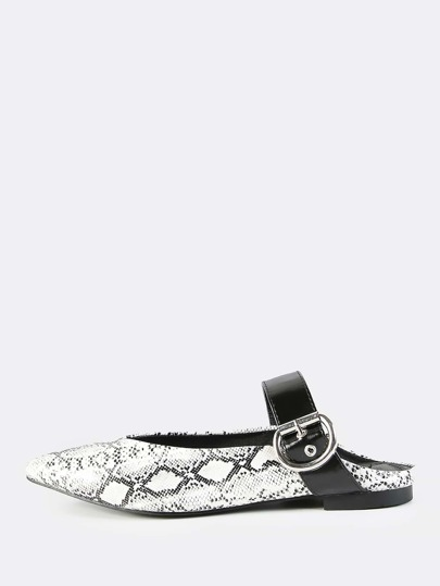 Backless Point Toe Buckle Flats SNAKE