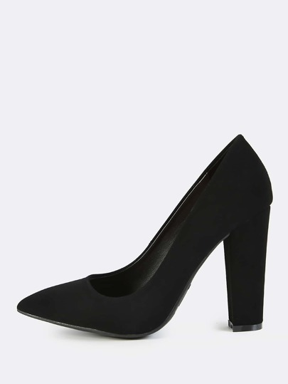 Faux Leather Point Toe Pumps BLACK
