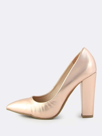 Metallic Point Toe Pumps ROSE GOLD