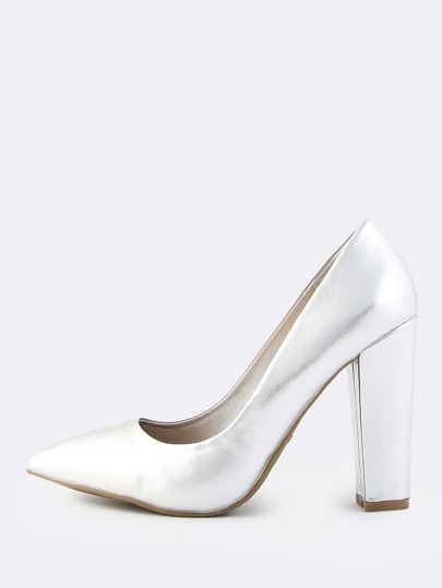 Metallic Closed Toe Pumps SILVER