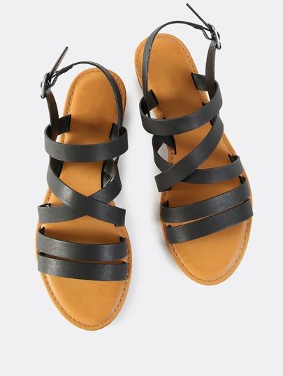 Multi Strap Flat Sandals BLACK