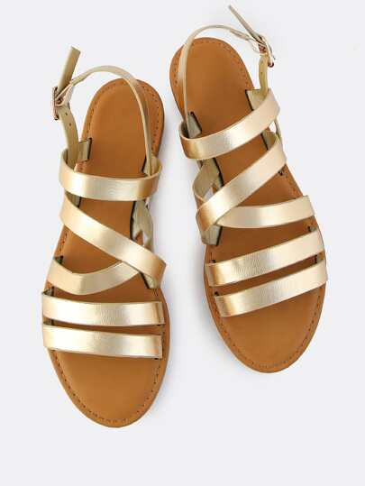 Metallic Multi Strap Flat Sandals GOLD