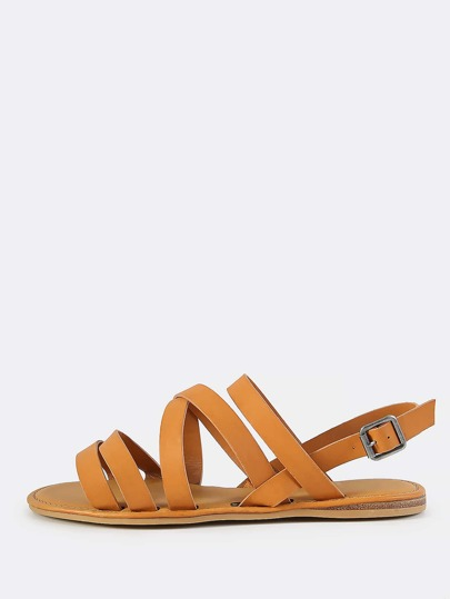Super Strappy Flat Sandals TAN