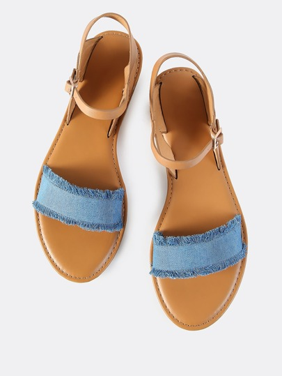 Denim Band Ankle Strap Sandals BLUE DENIM