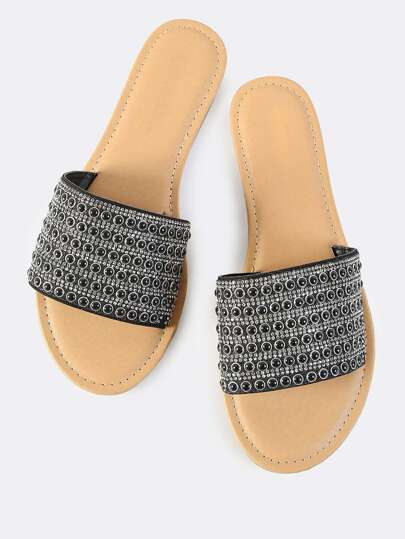 Beaded Crystal  Slip On Sandals BLACK