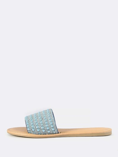 Beaded Slip On Sandals BLUE