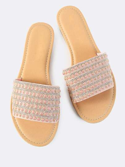 Crystal Bead Slip On Sandals BLUSH