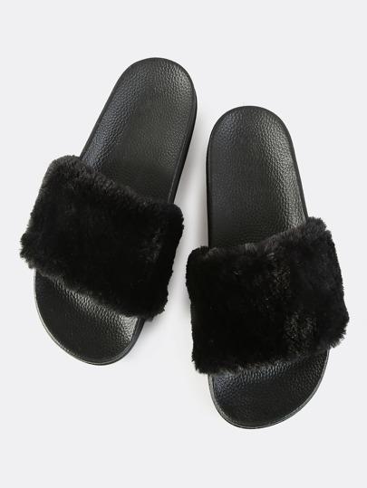 Classic Faux Fur Slides BLACK