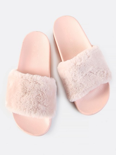 Faux Fur Slides PINK