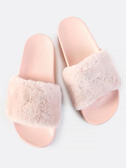 Faux Fur Slides PINK