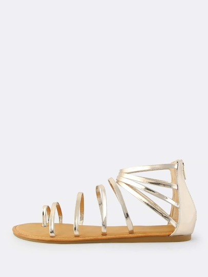 Open Toe Strappy Patent Sandals GOLD