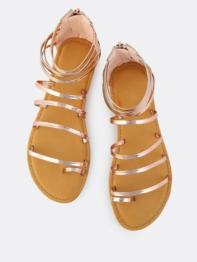 Metallic Strappy Sandals ROSE GOLD