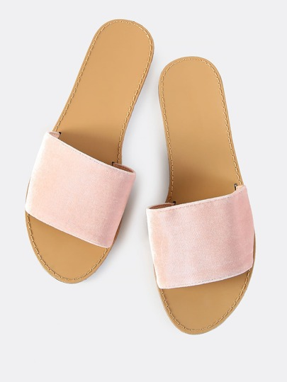Velvet Slip On Sandals BLUSH
