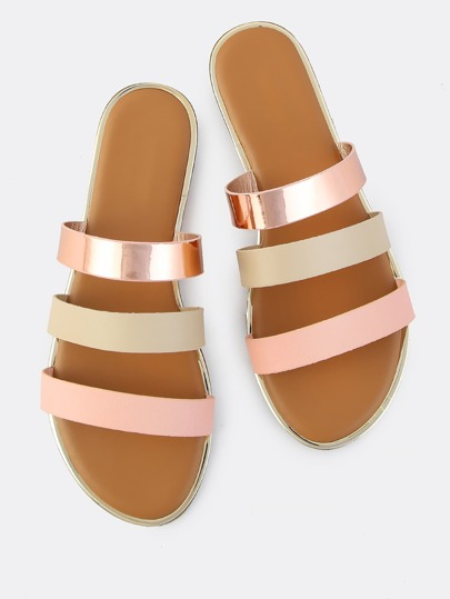 Triple Strap Slip On Sandals BLUSH