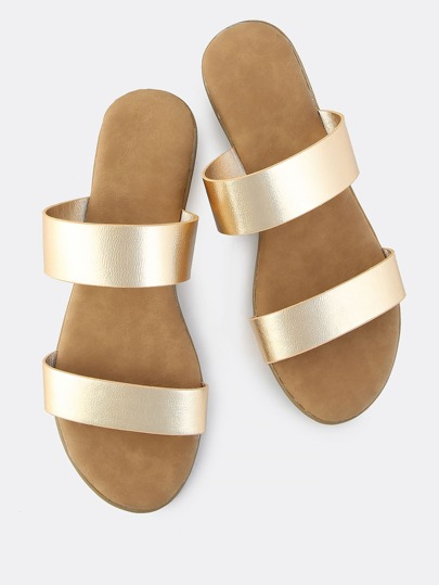 Metallic Duo Band Slip On Sndals GOLD