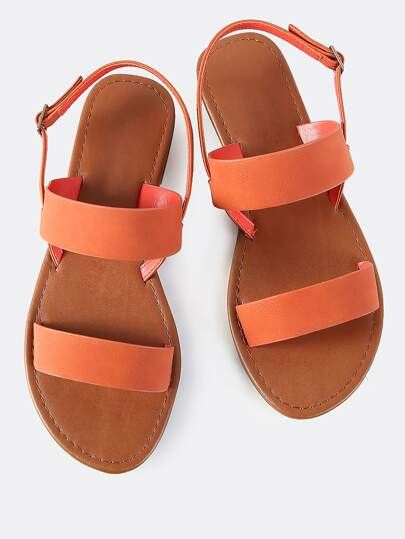 Double Band Faux Leather Sandals BURNT ORANGE