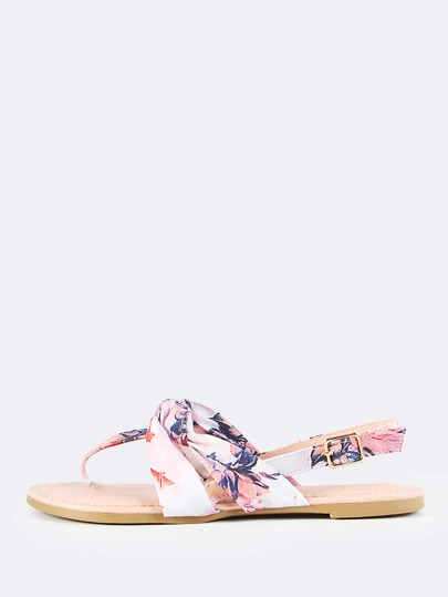 Floral Print Knotted Thong Sandal BLUSH