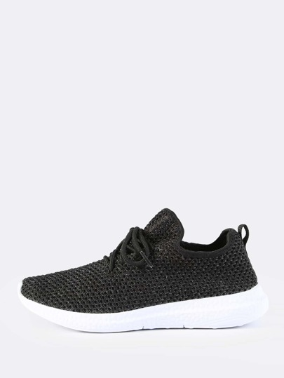 Fly Knit Netted Lace Up Sneakers BLACK