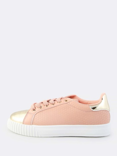 Gold Toe Cap Lace Up Sneakers PEACH