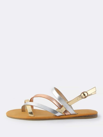 Metallic Multi Cross Strap Sandals METALLIC