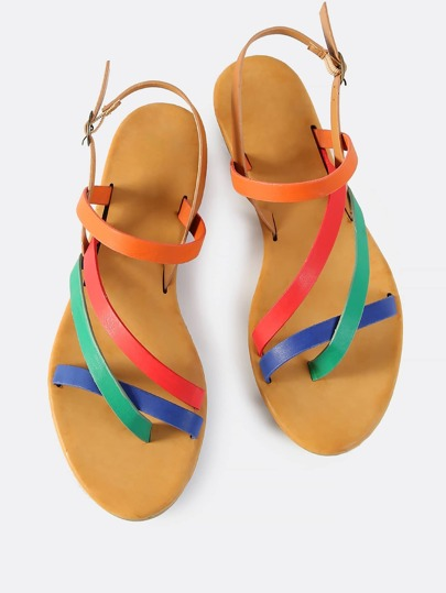 Multi Cross Strap Sandals MULTI