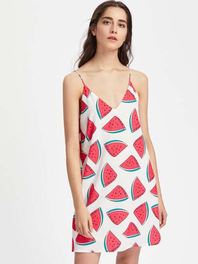 Watermelon Print Double V Neck Cami Dress