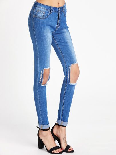 Pantaloni di jeans skinny di lavaggio con cut-out sul ginocchio