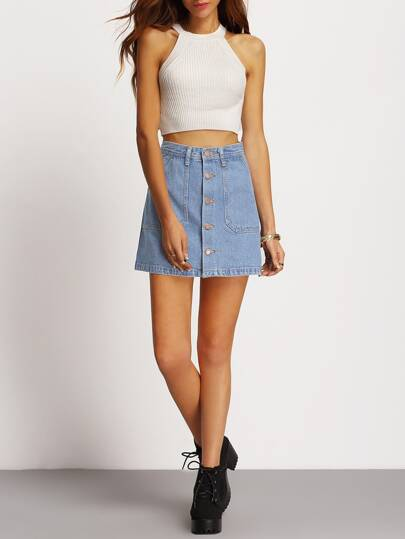 Faded Wash Slant Pocket Button Down Denim Skirt