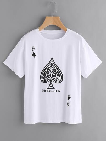 Drop Shoulder Playing Card Tee