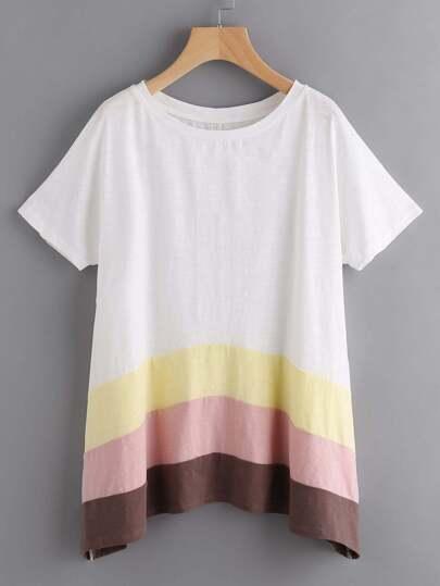 Cut And Sew Hanky Hem Slub T-shirt
