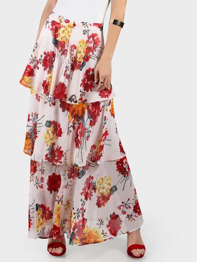 Zip Back Floral Tiered Maxi Skirt
